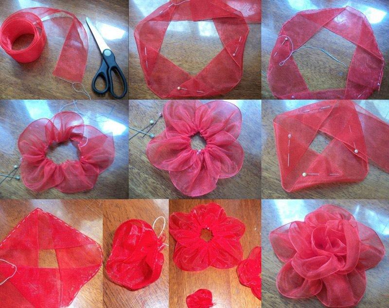 Сделать цветок из ткани своими руками фото