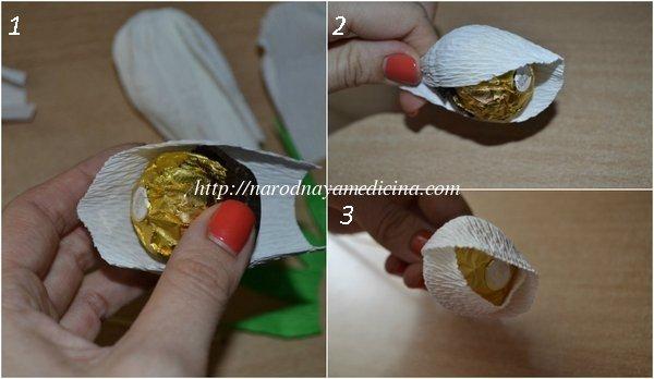 Цветы из гофрированные бумаги с конфетами своими руками