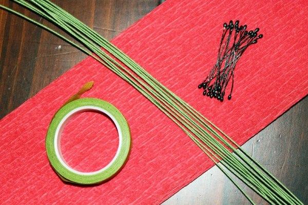 Как сделать стебель для цветов из бумаги