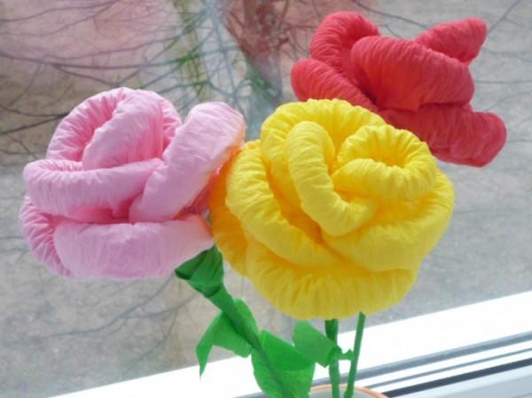 Розы из бумажных салфеток своими руками видео