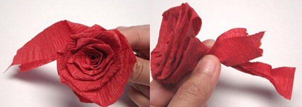 Как сделать розы из гафрированой бумаги