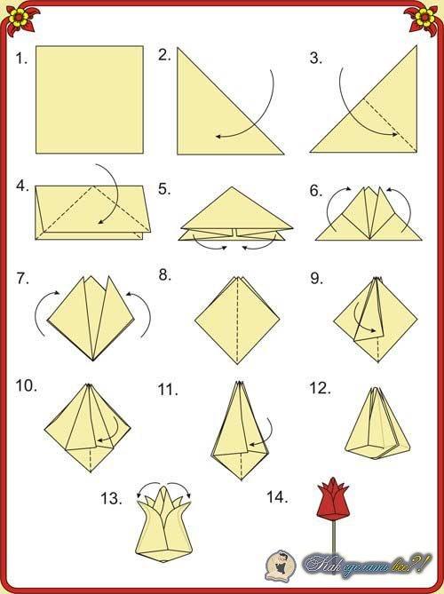 Схемы оригами цветы своими руками