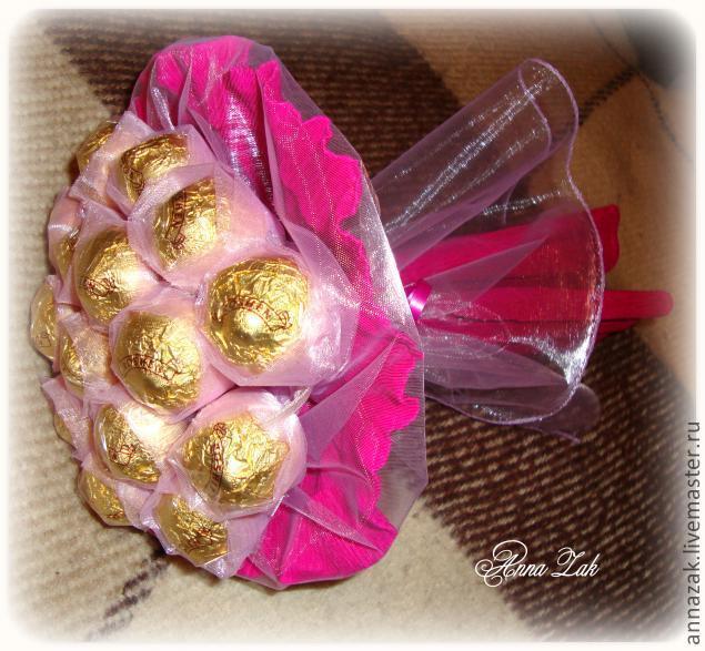 Букеты из конфет в органзе своими руками мастер класс