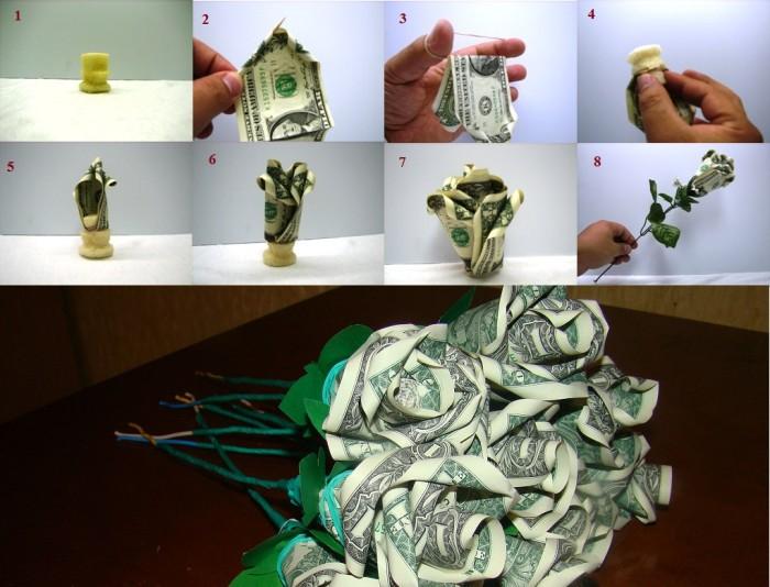 Сделать цветок из денег своими руками пошаговая инструкция