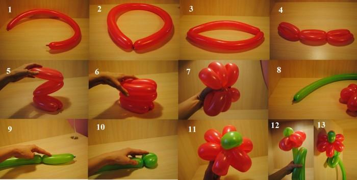 Цветы из шаров для моделирования своими руками