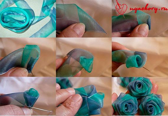 Украшение из лент для цветов своими руками
