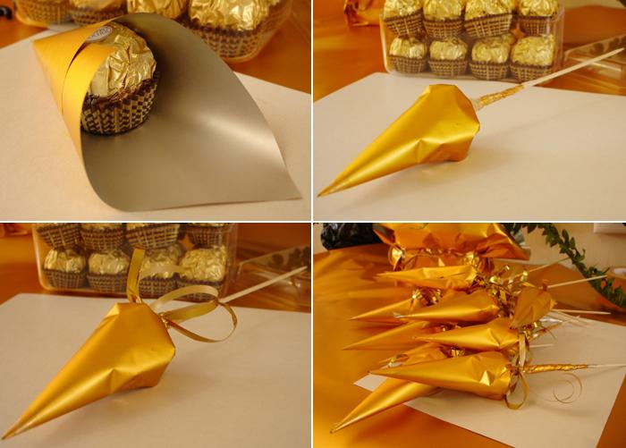 Букеты из конфет новогодние своими руками пошаговое фото