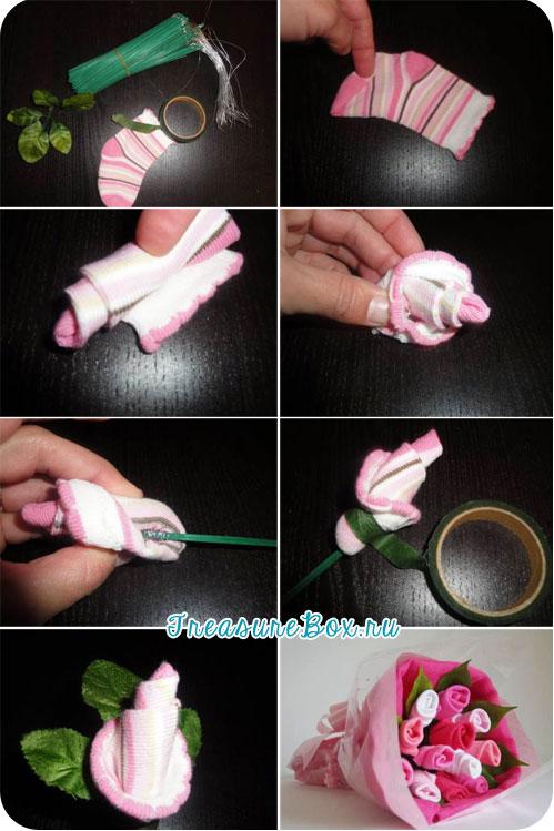 Цветок из носка своими руками