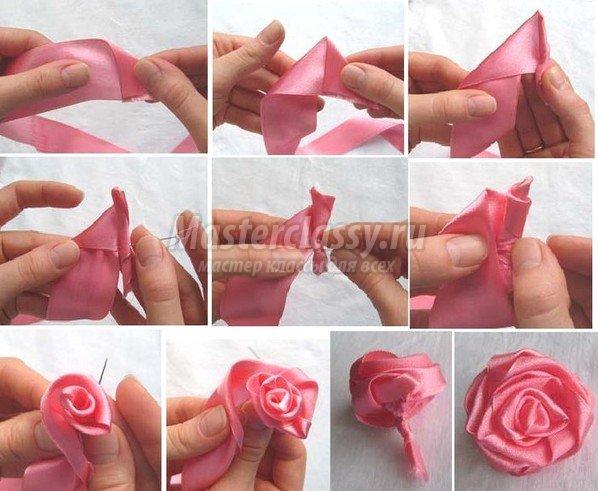 Розы сделанные своими руками из атласной ленты 358