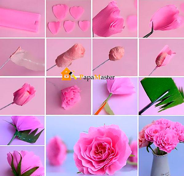Бумажные цветы из гофрированной бумаги своими руками