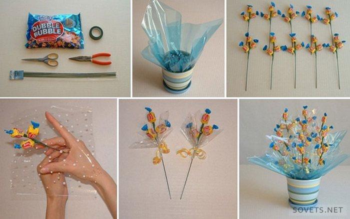 Цветок из конфет своими руками фото