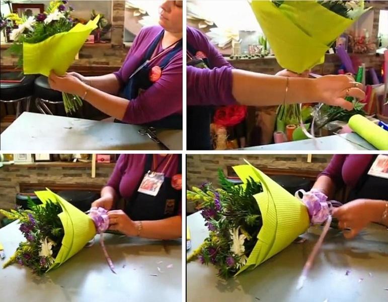 Как сделать упаковку для цветов своими руками из бумаги