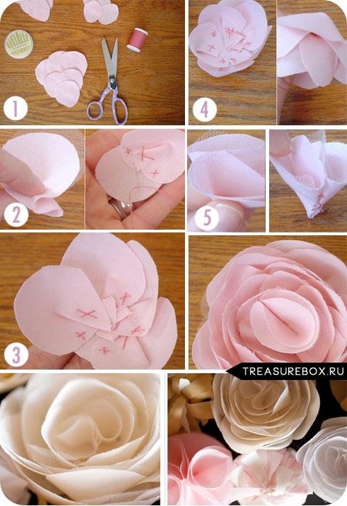 Цветы ткани своими руками фото