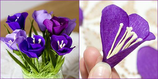 Цветы из гофрированной бумаги дети своими руками