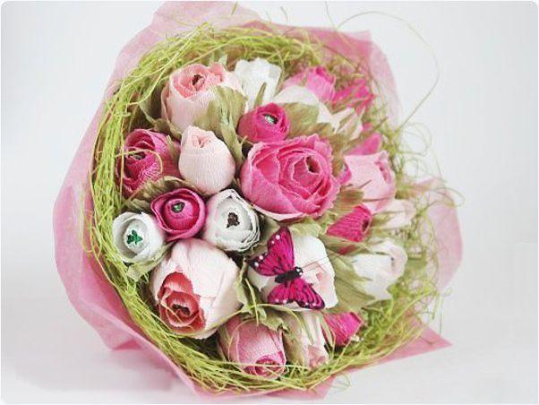 Букет роз из бумаги с конфетами своими руками