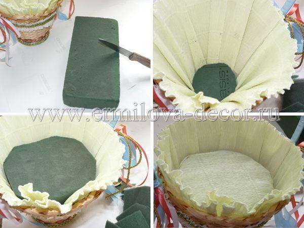 Как оформить корзину из конфет своими руками