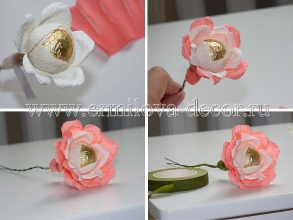Цветы с конфетами своими руками из гофрированной бумаги