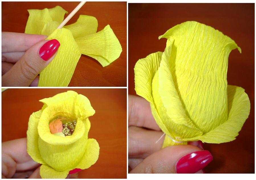Розы из креповой бумаги своими руками с конфетами