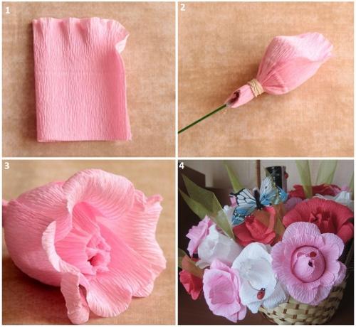 Цветы из гофрированной бумаги и конфет своими руками роза