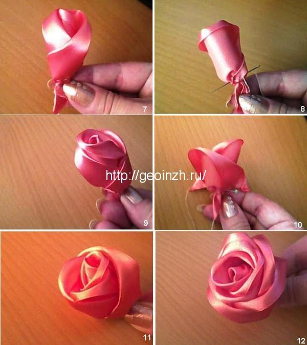 Розы из атласных своими руками из лент