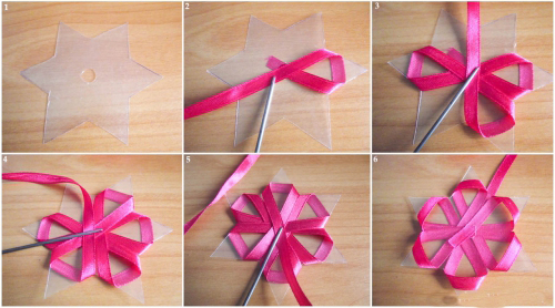 Как сделать маленькие цветы из ленточек