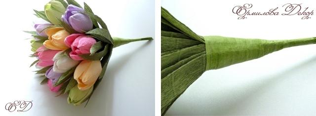 Тюльпан из гофрированной бумаги своими руками с