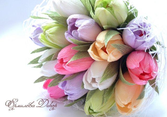 Букет из тюльпанов из бумаги своими руками