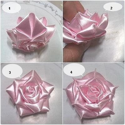 Как сделать  розы из атласной ленты видео уроки
